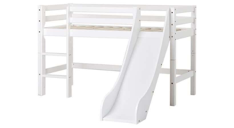 halvhøj seng med rutchebane